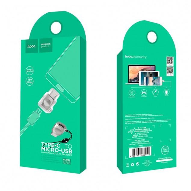 Adapter Hoco UA8 MicroUSB -> Type-C Pearl Nickel
