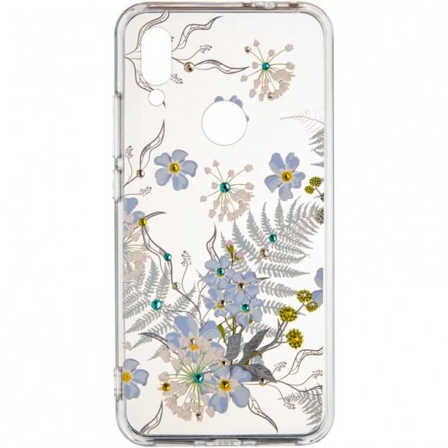 Diamond Silicon Younicou (New) Xiaomi Redmi 8 Blue Flowers
