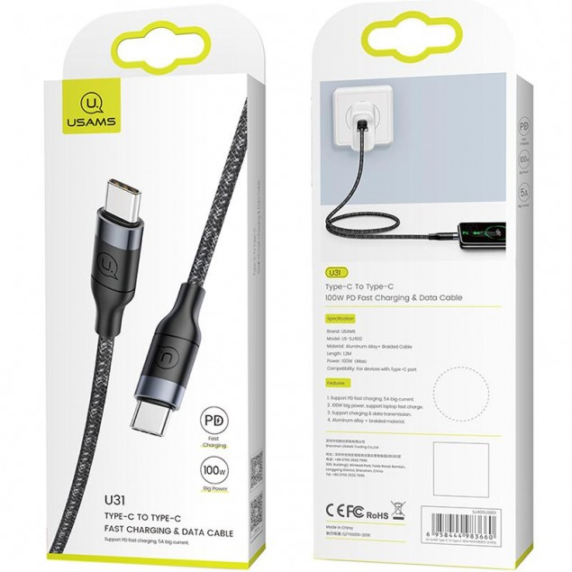 Cable Usams US-SJ400 Fast Charging U31 Type-C -> Type-C Black 1.2m