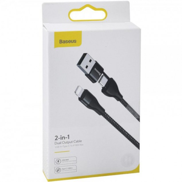 Cable Baseus Dual Output 2-in-1 Type-C/USB to Lightning 18W (CATLYW-G01) Black 1m
