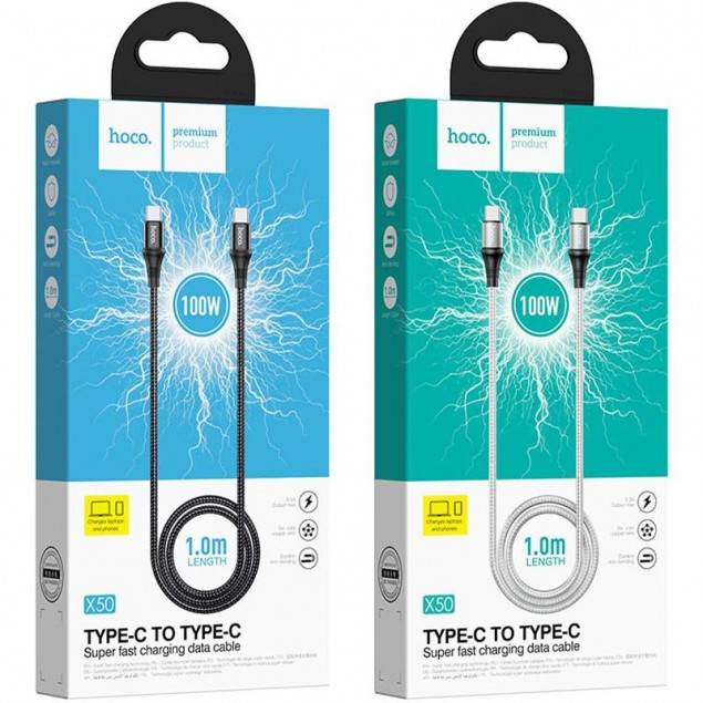 Cable Hoco X50 Exquisito Type-C to Type-C (100W) Black 1m