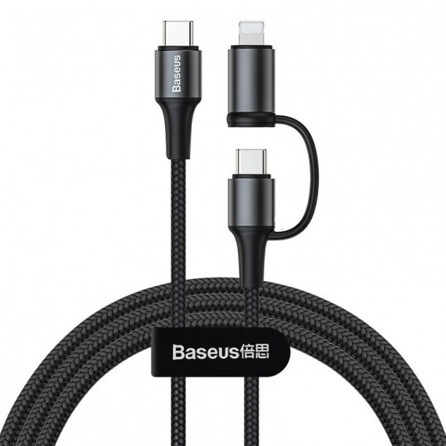 Cable Baseus Twins 2 in 1 Type-C/(Type-C/Lightning) 60W (CATLYW-H01) Black 1m