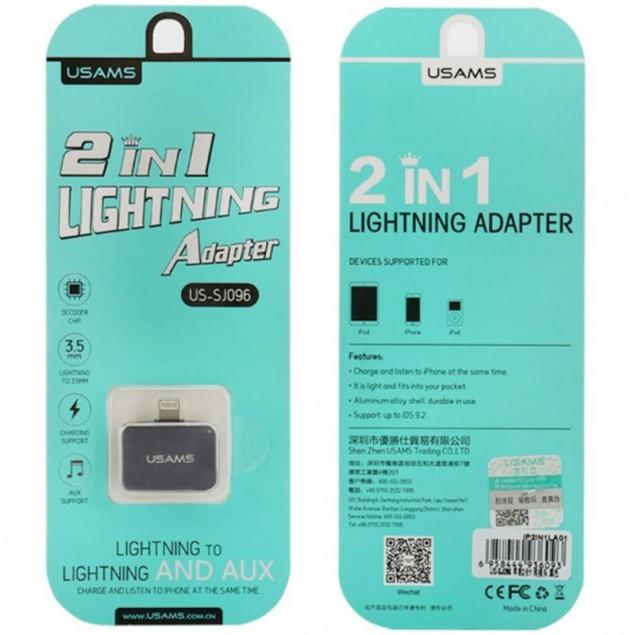 Adapter Usams 2in1 Lightning -> Lightning + 3.5mm Black (US-SJ137)