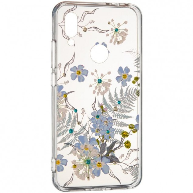 Diamond Silicon Younicou (New) Samsung A805 (A80) Blue Flowers
