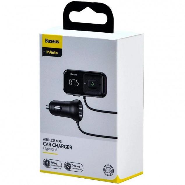 FM Modulator Baseus T-Typed S16 Bluetooth MP3/Charger (CCTM-E01) Black