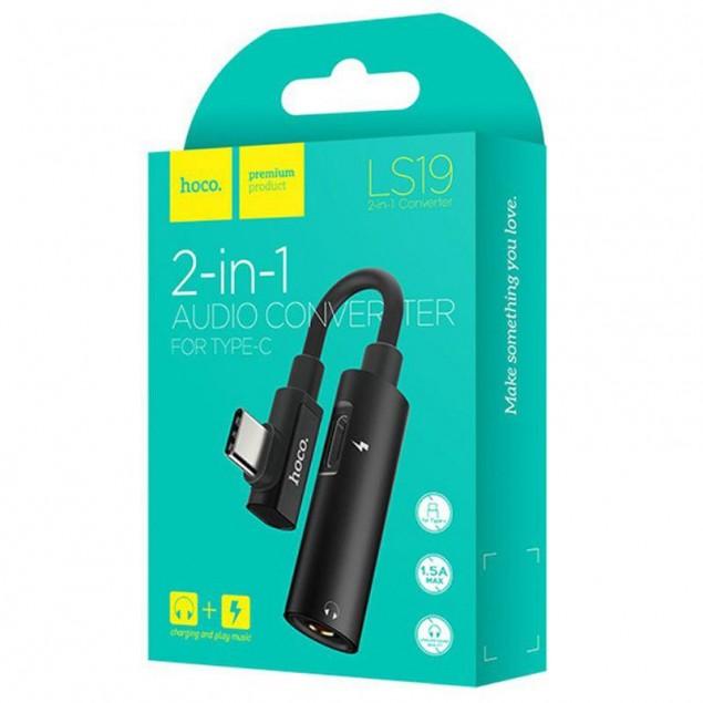 Adapter Hoco LS19 2in1 Type-C -> Type-C + 3.5mm Black