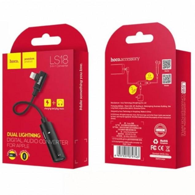 Adapter Hoco LS18 2in1 Lightning -> 2 Lightning Black