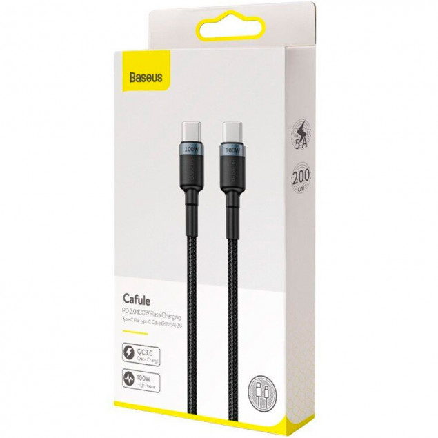 Cable Baseus Cafule Type-C/Type-C 100W (CATKLF-ALG1) Black/Gray 2m